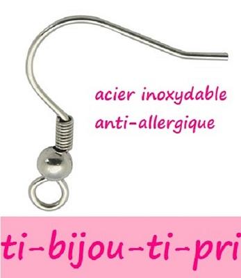 LOT de 120 CROCHETS BOUCLES D/'OREILLES ACIER INOXYDABLE ANTI-ALLERGIQUE perles