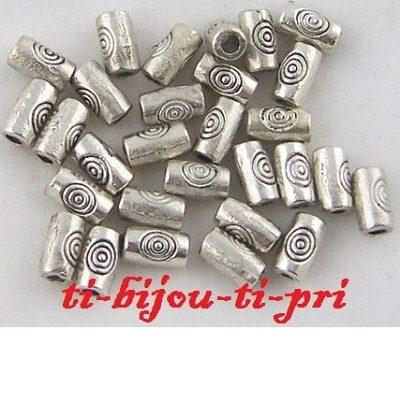 LOT de 200 PERLES tubes 5 x 2,5mm INTERCALAIRE petits batons ARGENTE bijoux