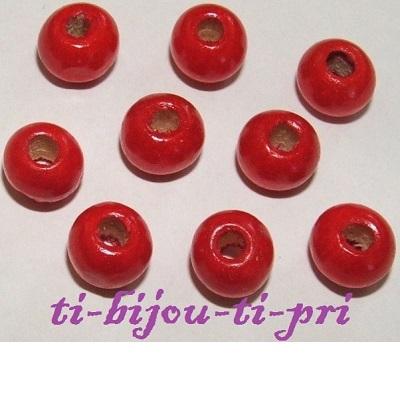 LOT de 100 PERLES rouge RONDES en BOIS 9 x 7 mm création bijoux