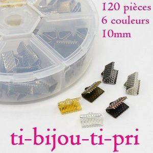 BOITE de tri d/'env 420 EMBOUTS à ECRASER PLIER 6 x 3mm 6 COULEURS perles bijoux