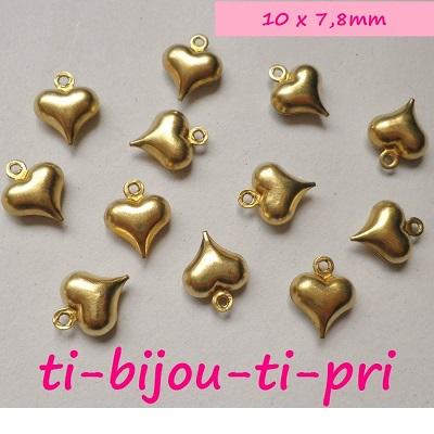 LOT de 12 PENDENTIFS perles breloques COEURS DOUBLES ARGENTES 23mm bijou sautoir