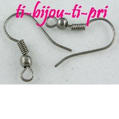 LOT de 120 CROCHETS BOUCLES D/'OREILLES argenté foncé SANS NICKEL 19mm perles