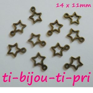 LOT de 30 PENDENTIFS perles breloques ETOILES BRONZE 14 x 11mm fimo bijoux STAR