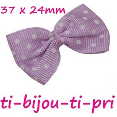 LOT de 10 NOEUDS RUBAN GROS GRAIN FUCHSIA POIS 37 x 24mm perle barrette cheveux