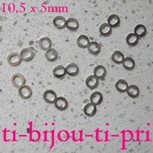 LOT de 50 petits CONNECTEURS INFINITY INFINI 10,5 x 5mm ARGENTES bracelet perles