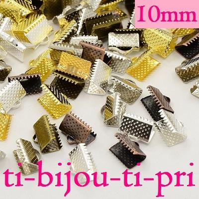 LOT de 50 EMBOUTS PINCES ARGENTE ATTACHE RUBAN à griffes gros grain 13x7mm perle